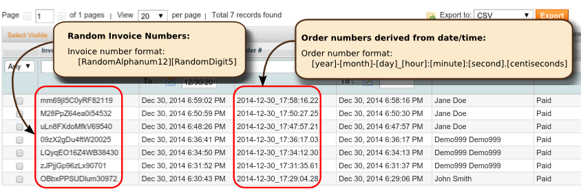 OpenTools Magento Ordernumber NumbersExotic CurrentTime Random annotated