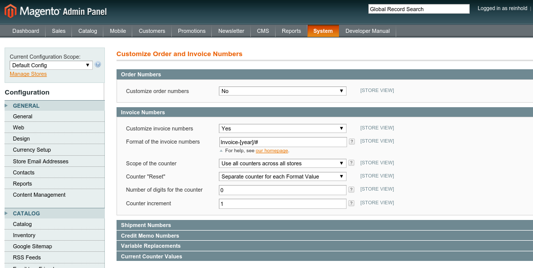 OpenTools Magento Ordernumber Settings