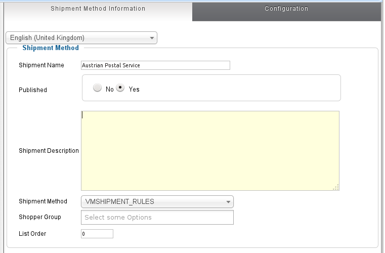 Shipping by Rules plugin configuration