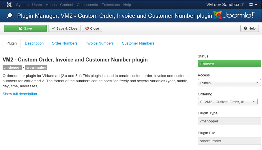 VM Ordernumber Plugin - The Open Tools Company