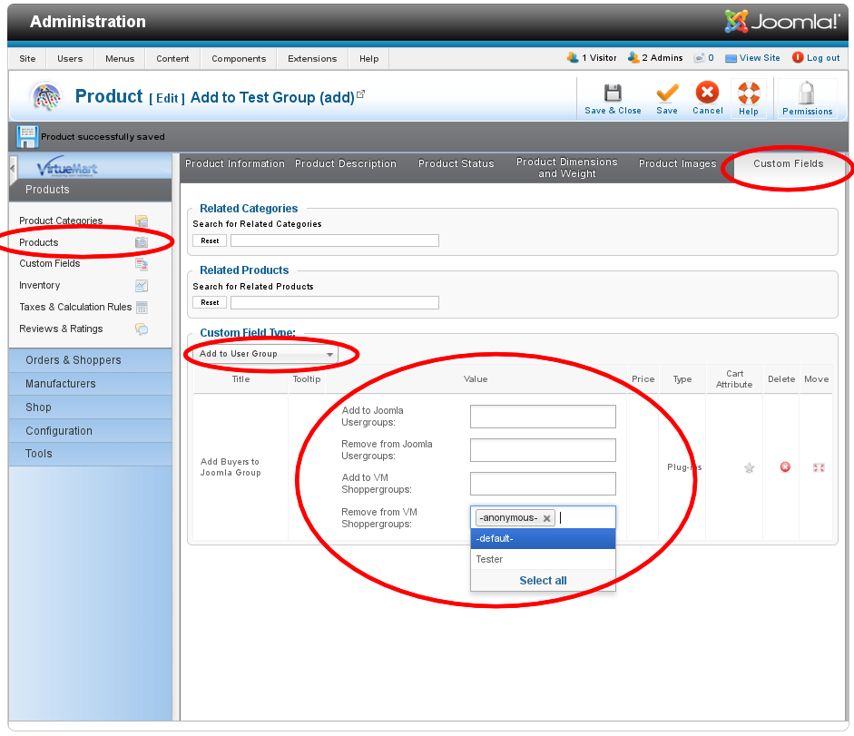 vm buyer groups customfield product