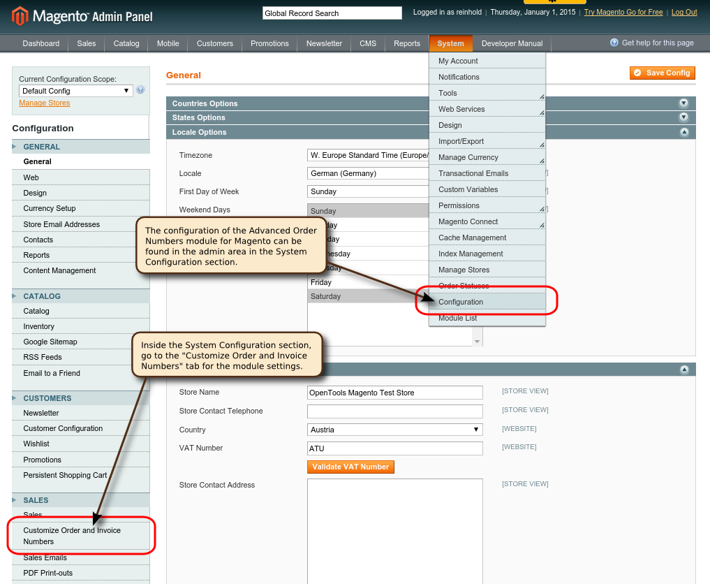 OpenTools Magento Ordernumber Settings Menu annotated